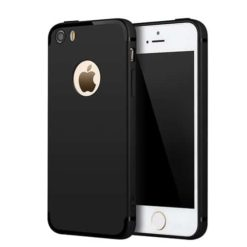 iPhone SE / 5 / 5s Max Matte Black Cross Pattern TPU Gel Case