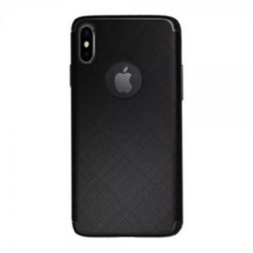 iPhone X / XS Matte Black Cross Pattern TPU Gel Case