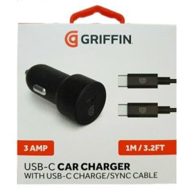 Griffin 3 Amp Car Charger With USB-C To USB-C Charge / Sync Cable