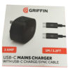 Griffin 3 Amp Mains Charger With USB-C To USB-C Charge / Sync Cable